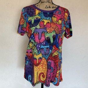 Laurel Burch artist abstract cat shirt
